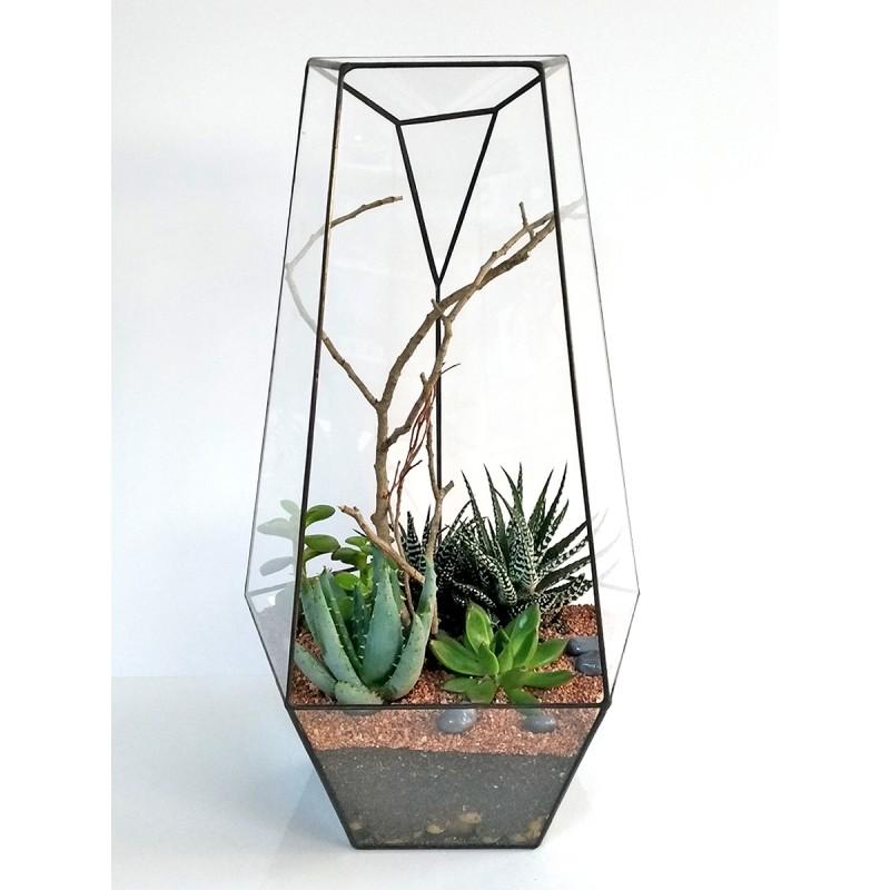 Кристалл, 40*21 см, высокий геометрический флорариум
