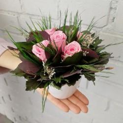 Букет из стабилизированных нежно-розовых роз