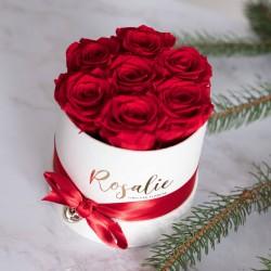 Стабилизированные цветы в коробке, 7 роз